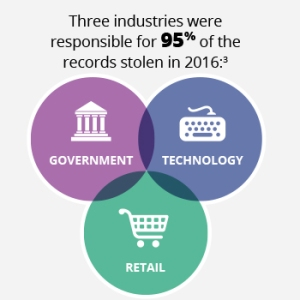 Three industries were responsible for 95% of the records stolen in 2016.